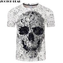 White t shirt 3D Skull tshirt Men T-shirt Male Top Summer Tee Quality Camiseta S