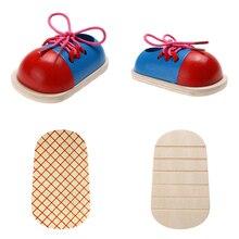 1 pz bambini giocattoli educativi Montessori giocattoli in legno per bambini scarpe allacciatura per bambini educazione precoce supporti didattici Montessori Puzzle