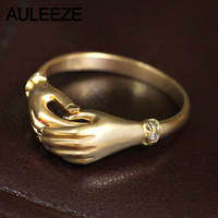 AULEEZE Real Diamond Ring AU750 18K Solid Yellow Gold Jewelry Natural Diamond Ring Unique Frosted Hand in Hand Ring For Women