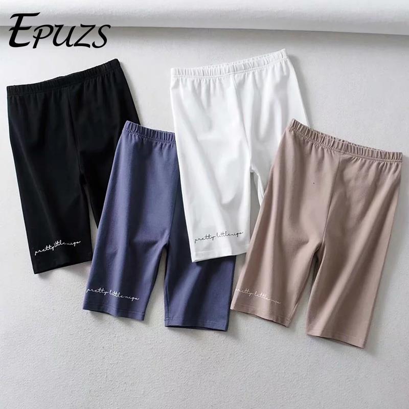 Summer Black Biker Shorts Women Elastic High Waist Shorts Vintage Letters Print Cotton Short Mujer Streetwear Sweatpants 2019