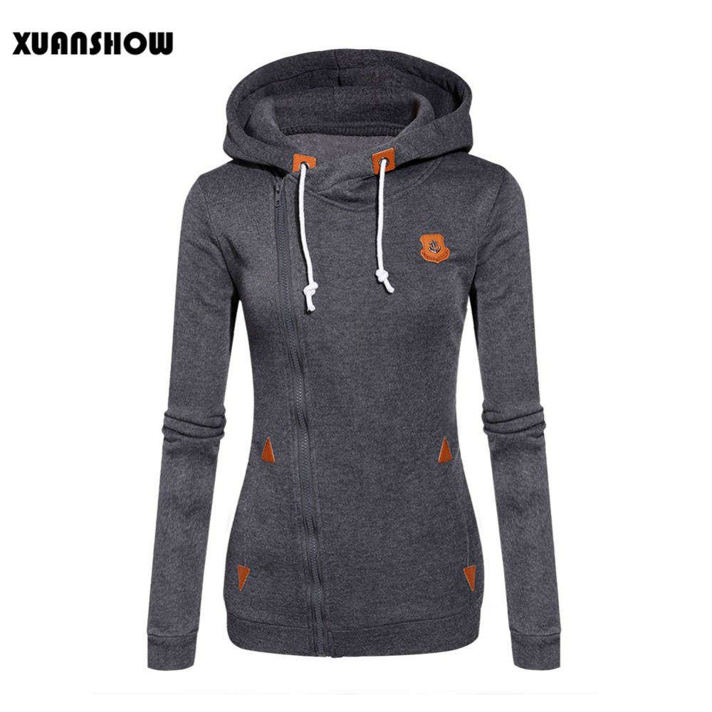 2017 Womens Fashion Fleeces Sweatshirts Ladies Hooded Candy Colors Solid Sweatshirt Long Sleeve Zip Up Clothing Sudaderas Mujer