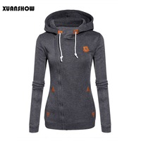 2016 New Fashion Thickening Fleeces Sweatshirts For Womens Hooded Candy Colors Solid Sweatshirt Long Sleeve Side