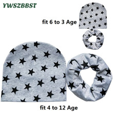 0 to 12Age Kids Hat Baby Child Hats Scarf Set 2Pcs Beautiful Stars Children Cap Collars Autumn Winter