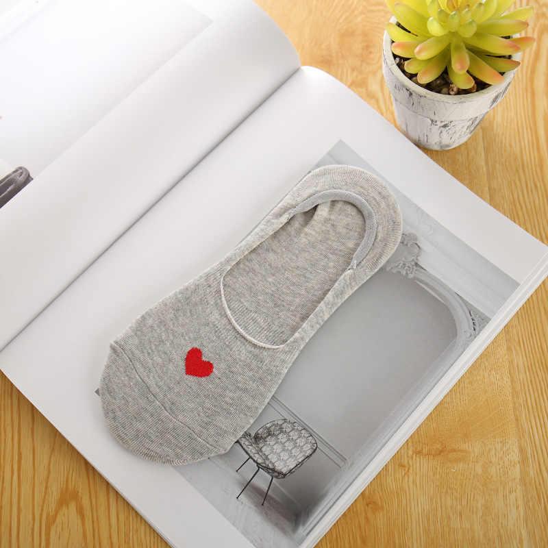 Однотонные Женские Дышащие низкие Носки с рисунком Love, бесшовные Невидимые носки, Слиперы, женские хлопковые дешевые короткие тонкие носки