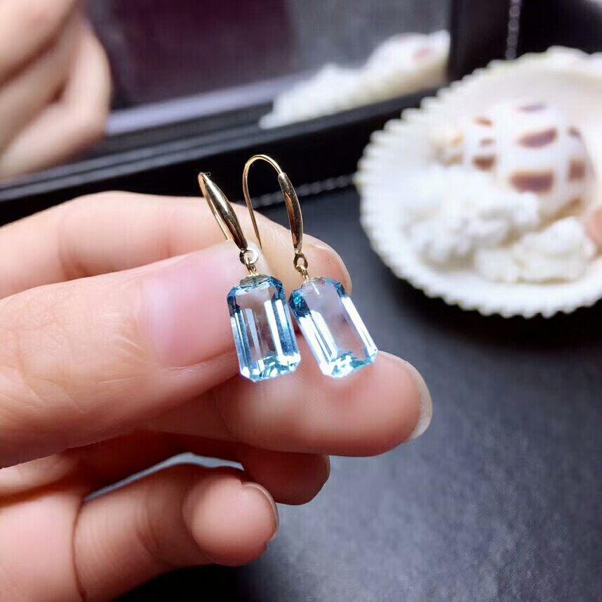 MeiBaPJ Real 18K Gold Natural Blue Topaz Gemstone Classic Rectangle Drop Earrings Fine Charm Jewelry