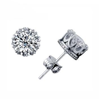 Fashion Jewelry Crown Women Classic Shining Zircon Small Stud Earrings Gold Color Ears Stud For Men Crystal Earrings WE132 2