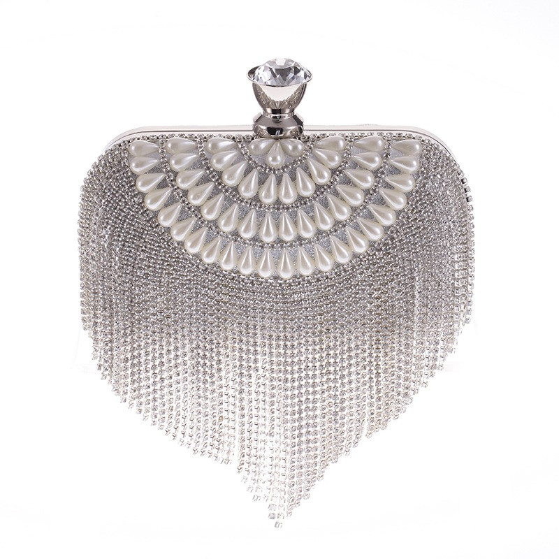 Silver Gold Crystal Rhinestones Women Evening Clutch Bag Bridal Wedding Clutches Party Dinner Prom Chain Shoulder Handbag Purse solid white acrylic women evening purse bridal striped handbags wedding party prom clutch bag long chain shoulder crossbody bag