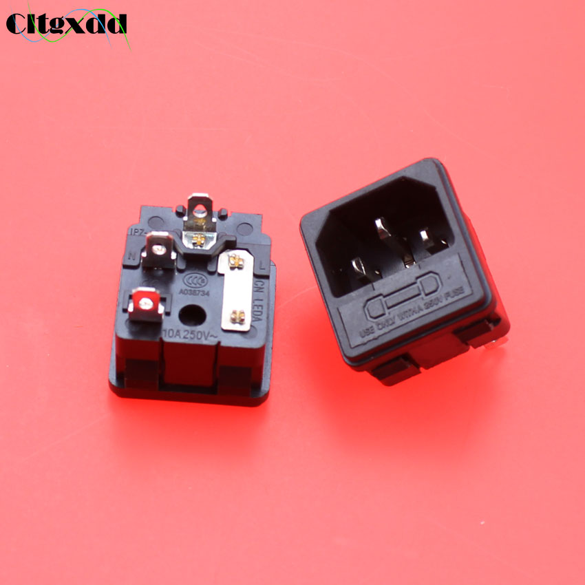 cltgxdd 3 pin 10A 250V AC power socket jack connector with fuse plug male host chassis socket industrial socket Black 3pin