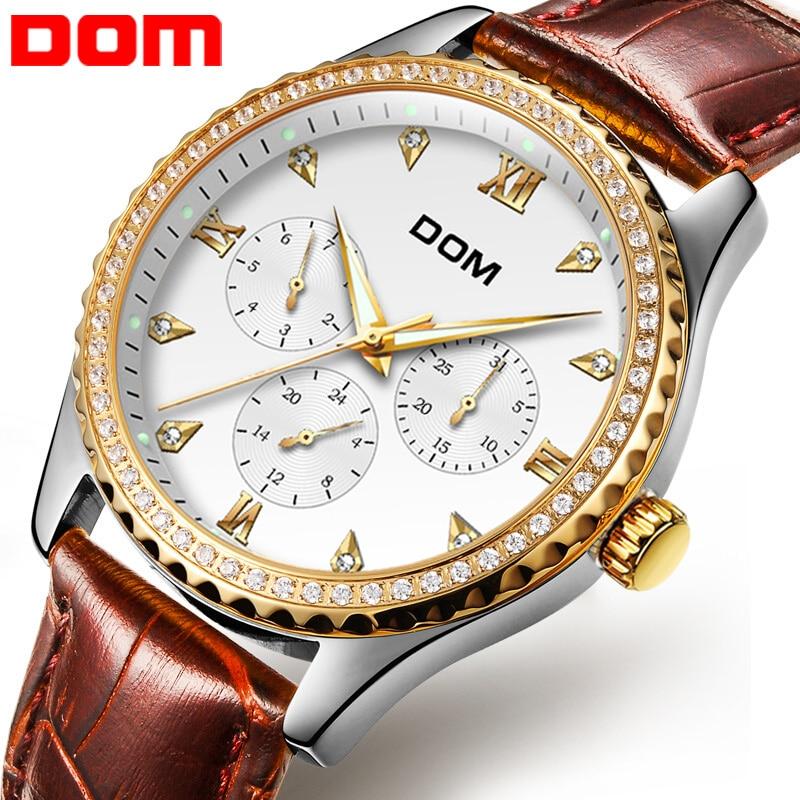 DOM Man kellad luksus brändi veekindel stiil kvarts nahk kuld õde - Meeste käekellad