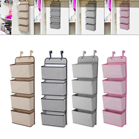 4 Tier Over The Door Hanging Storage Bags Multifunction Organiser Hook Toy Shoe Holder Rack Hanger With Metal Hooks Door Rack 34