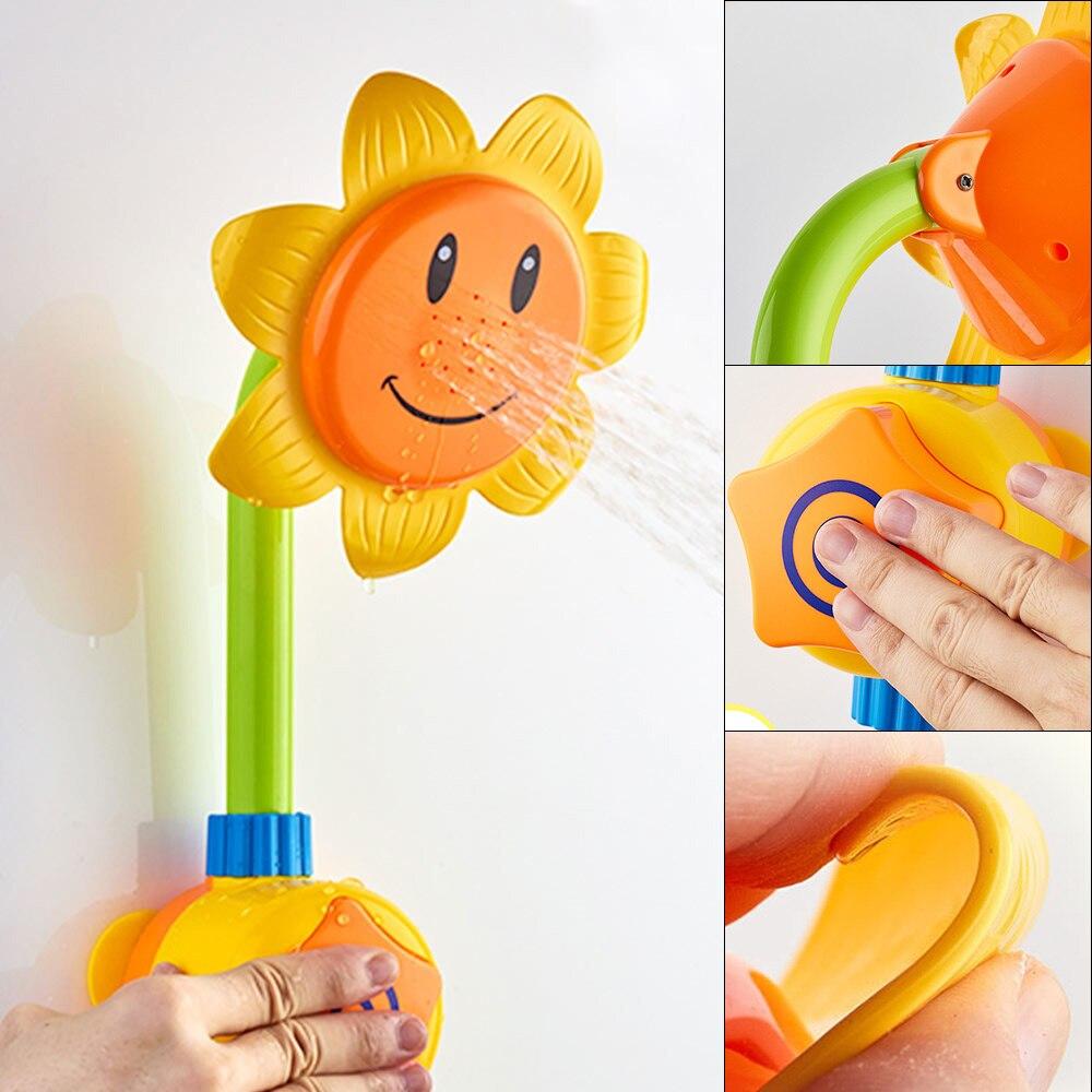 Baby Bath Toys Children Sunflower Spray Water Shower Bathing Tub Faucet Kids Bath Toy Bathroom Toy Spray Bathtub Fountain Toys