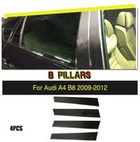 Car Styling Carbon Fiber B Pillars Decoration Stickers Trim Cover for Audi A4 B8 S4 RS4 Sedan 4 Door 2009 2012