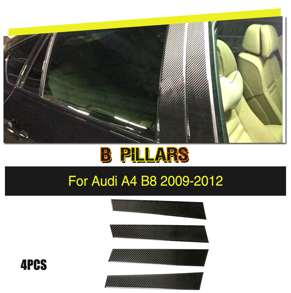 Car Styling Carbon Fiber B Pillars Decoration Stickers Trim Cover for Audi A4 B8 S4 RS4 Sedan 4 Door 2009 2012