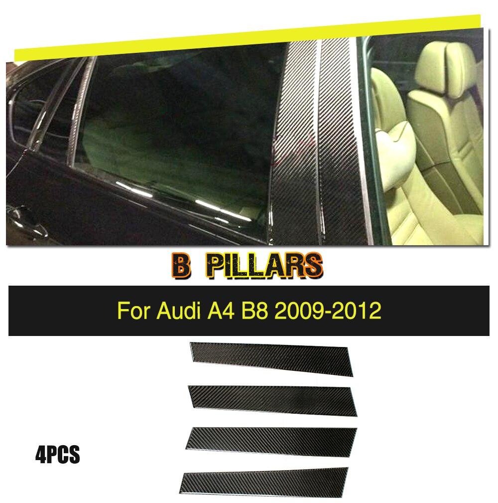 Voiture style Fiber de carbone B piliers décoration autocollants revêtement d'habillage pour Audi A4 B8 S4 RS4 berline 4 portes 2009-2012