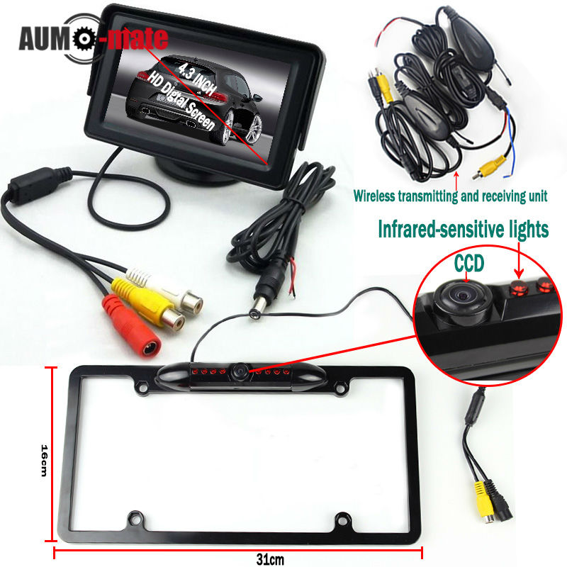 ФОТО Black License Plate Car Styling Wireless Transmitter Parking  System with CCD Rear View Camera 4.3'' Monitor