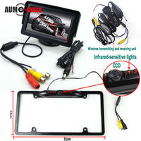 Black License Plate Car Stlying Wireless Transmitter Parking System With CCD Rear View Camera 4 3