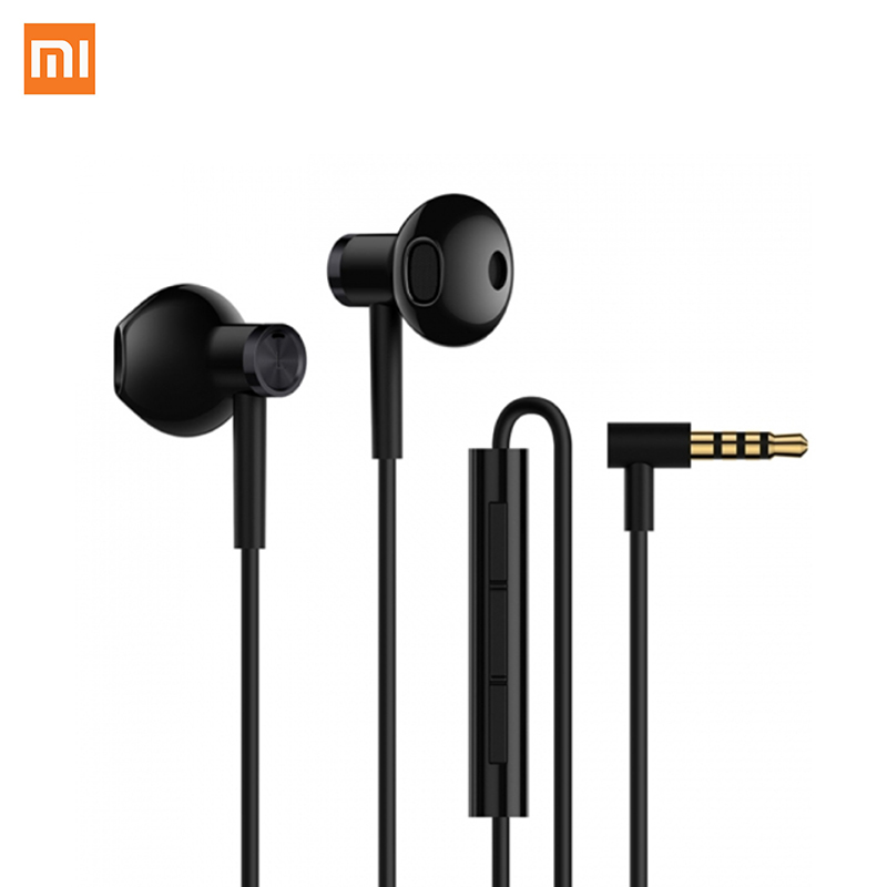 Xiaomi Mijia Ceramic headphones Dual Units Half In-Ear Earphone 3.5MM Slot With Mic Wire Control Xiaomi Earphone Dynamic