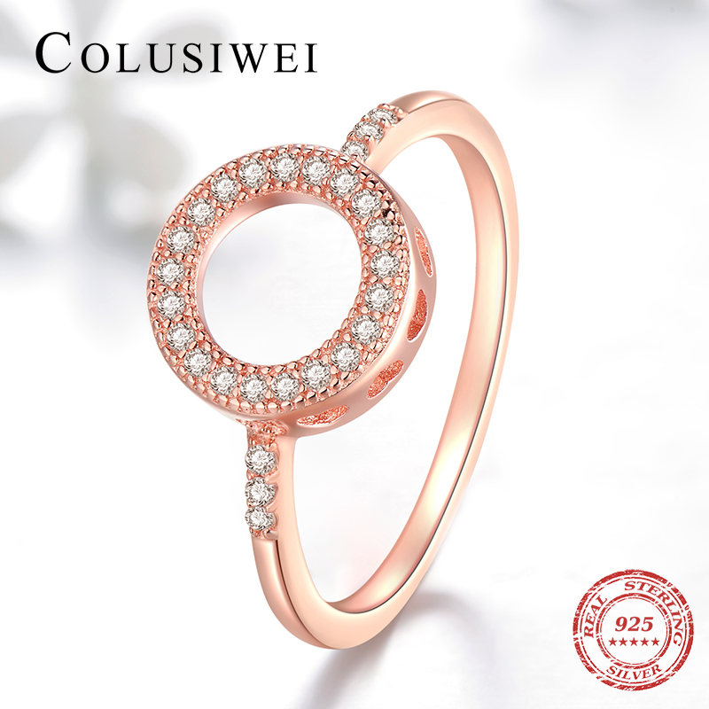 COLUSIWEI New Real 925 Sterling Silver Round Heart Ring Shining Fashion CZ Rose Color Engagement Wedding Jewelry For Women Gift