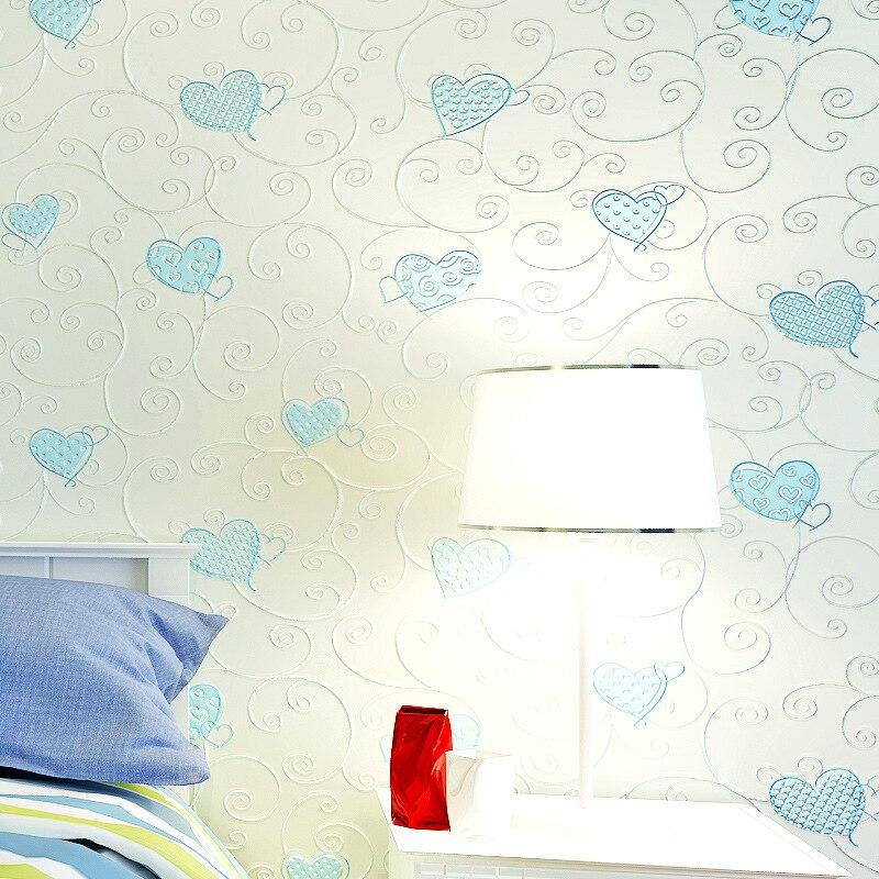 Beibehang papier peint 3d en forme de coeur rose bleu fille garçon papier peint flocage papier peint papier peint papel de parede 3d papier peint pour murs 3 d