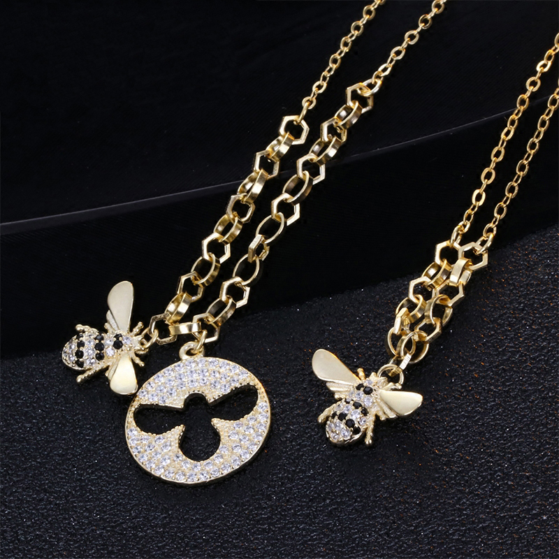 ZOZIRI Fashion brand Silver zircon bee Necklaces for Women Girl Bee Animal Pendant Choker Necklace Jewelry Party Prom Gift