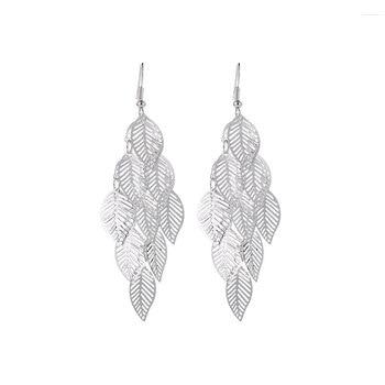 Fashion Hollow Flower Gold Color Leaf Drop Dangling Earrings pendientes Jewelry Wedding Bridal Tassel Long Earrings for women 5
