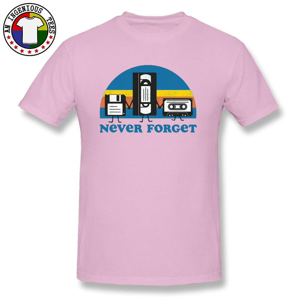 Never-Forget-disc-cassette- Family Tops Shirts for Men 100% Cotton Fall Crewneck Tshirts Simple Style Tops T Shirt Discount Never-Forget-disc-cassette- pink