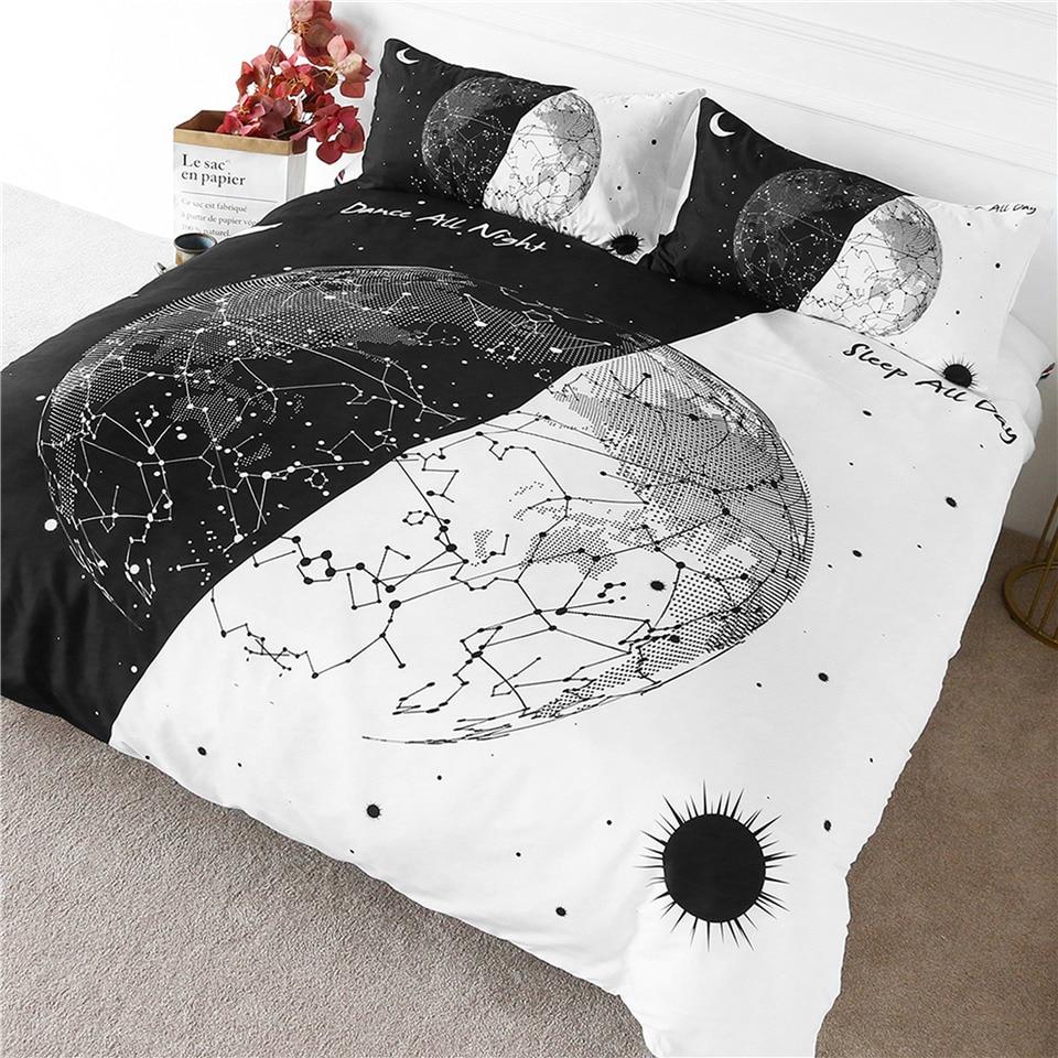 Möbel Wohnmöbel VertrauenswüRdig Blessliving Erde Birne Bettwäsche Schwarz Weiß Stilvolle Bettbezug Tag Und Nacht Bettdecke Konstellation Sonne Und Mond Bett Set 3 Stücke