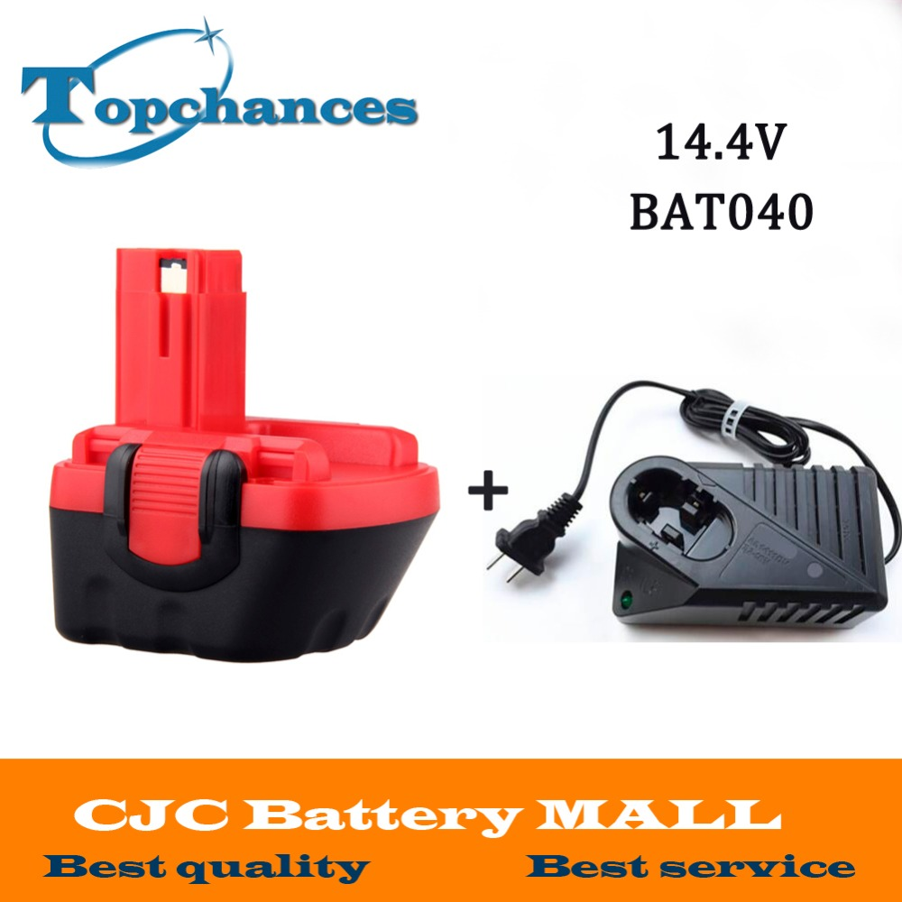 High Quality 14.4V 2000mAh Ni-CD Replacement Power Tool Battery for Bosch BAT038 BAT040 BAT041 BAT140 2 607 335 711+Charger panku 14 4v 3 0ah replacement battery for bosch bat038 bat040 bat041 bat140 bat159 bat041 2607335534 35614 13614 3660k 3660ck