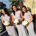 Sparkly Long Gray Mermaid Bridesmaid Dresses Backless Beaded Satin Bridesmaid Dress Cap Sleeve Luxury Bridesmaid Gowns B31