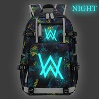 Alan Walker Backpack Night Luminous Daypack Bookbag Backpacks Waterproof Oxford Schoolbag for Boys Girls Travel Bags Rucksack
