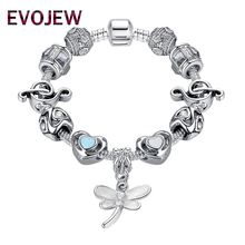 Trendy Silver Plated Beads Charm Fit Original Bracelet Bangle Musical Note Dragonfly Charm Bracelet For Women Wedding Jewelry