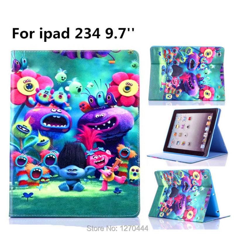 Magic wizard Cartoon Flip Stand Leather Cover For ipad 2 For ipad 3 Stand Case For IPAD2 IPAD4 fashion child Silicone case+Gift