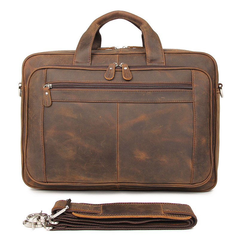 Hot Selling Genuine Leather Brown Handbag Male Fashion Briefcase Laptop Bag Business Travel Bag 7320R