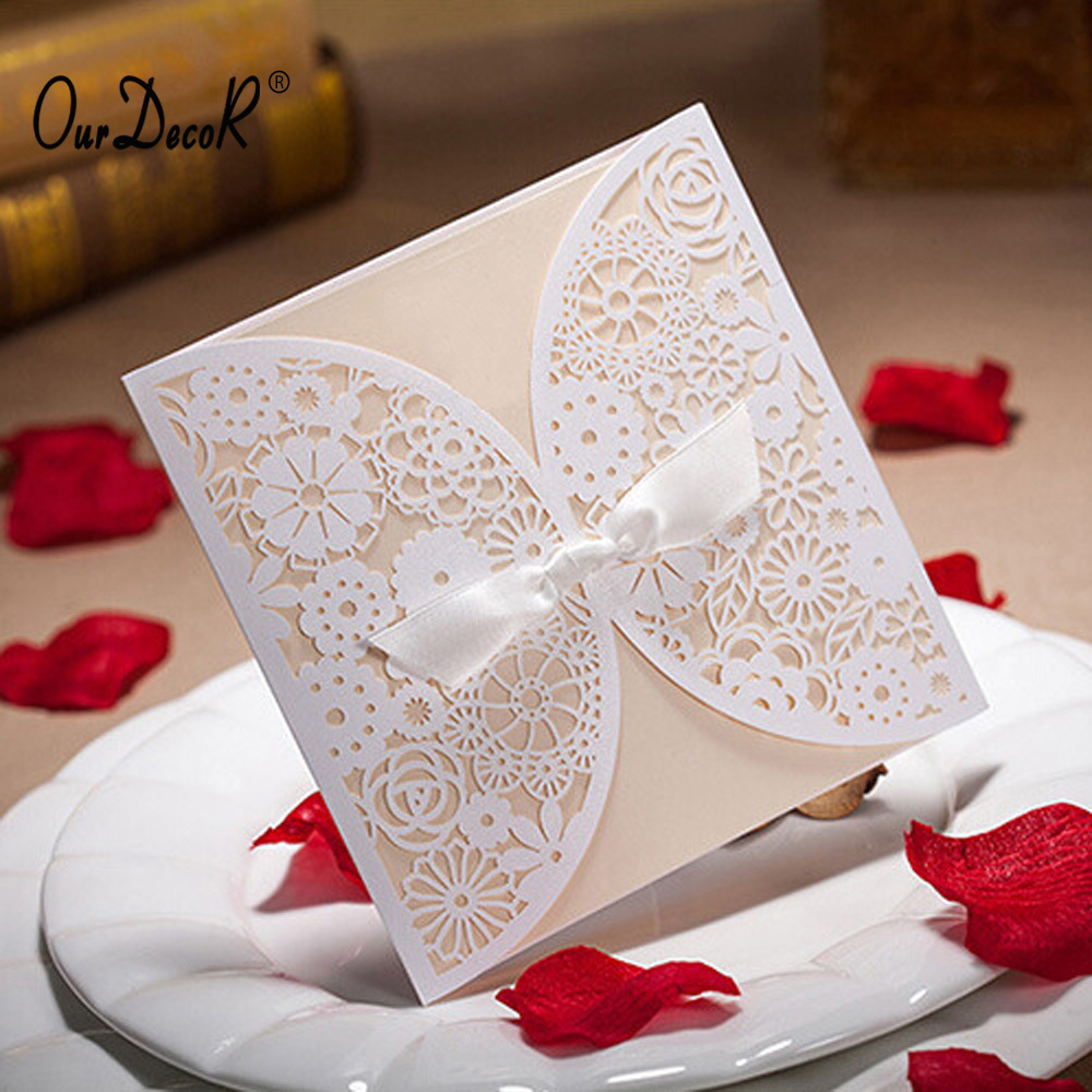 Charming DHL/EMS Free,100Pieces Bowknot Wedding Invitation Card Laser Cut White  Hollow Flowers Blank