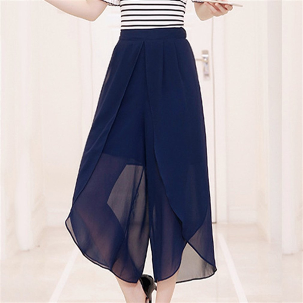 Bright Solid Color Chiffon Wide Leg Pants Women High-rise Waist Stretch Ninth Pants Summer Cool Loose Pantskirt All-match Superior (In) Quality