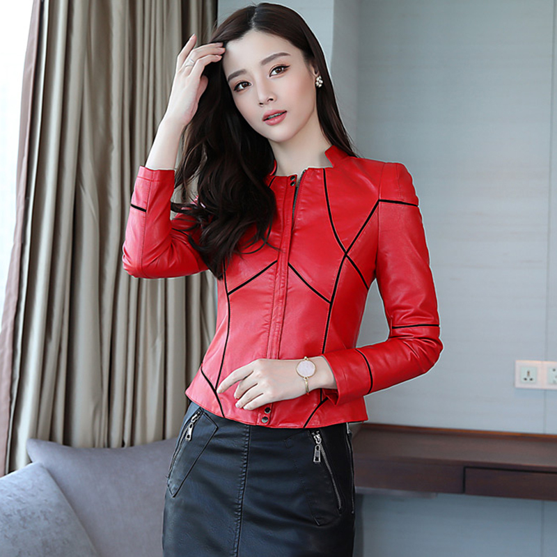 Short   leather   jacket women's 2019 Spring and autumn new fashion casual women   leather   coat plus size female   leather   clothing red