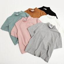 Women Kawaii Sweet Macaron All-Match Short Design Placketing Loose T-Shirt Female Basic Harajuku Punk Crop Top