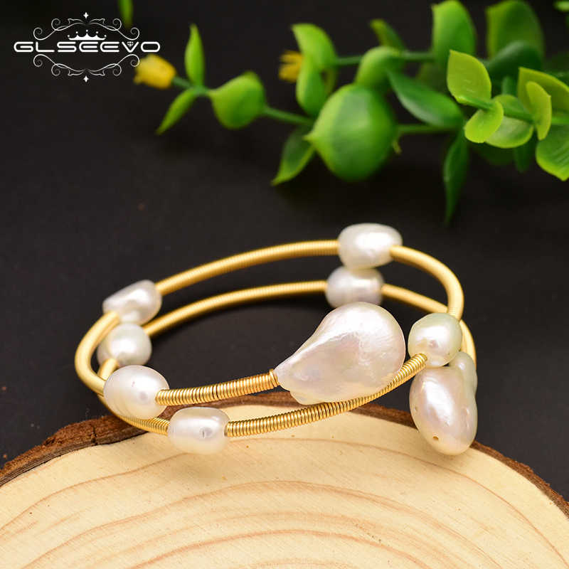 GLSEEVO Handmade Natural Fresh Water Baroque Pearl Double Layer Adjustable Bangle For Women Party Jewelry Bracelet Femme GB0120
