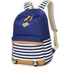 Опрятный школьные сумки рюкзак для девочек-подростков милые Холст Полосатый Печать Женщины Рюкзак Сумка женская Эсколар Mochilas