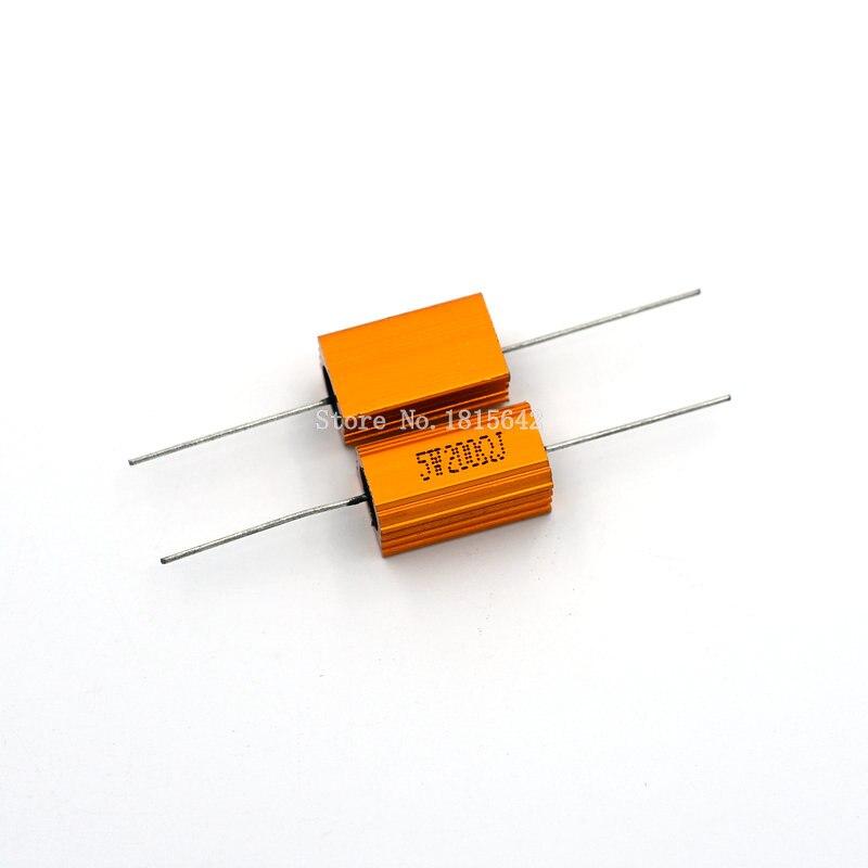 2PCS RX24 5W 200R 200RJ Power Metal Shell Aluminium Gold Resistor Power Resistance Golden Heat Sink Resistor 5Watt 200 Ohm
