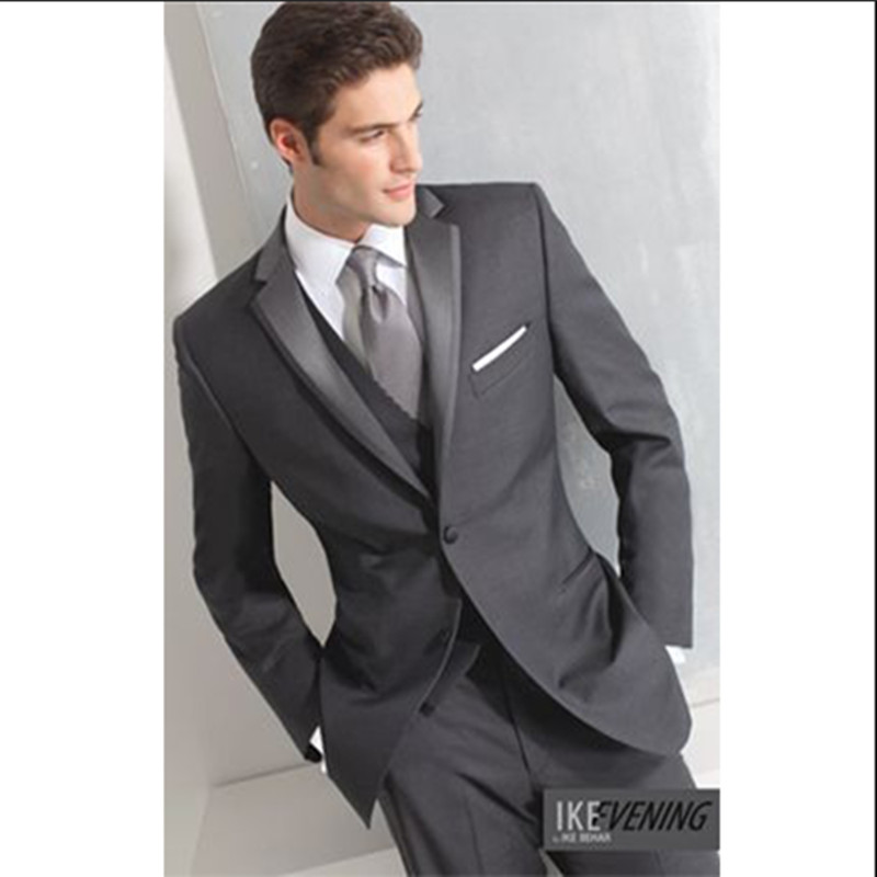 groom wedding suits charcoal gray custom made suits men three piece suit wool bleed high quality tuxedo for 2016