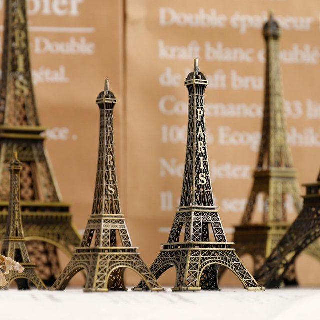 10cm-70cm Metal Eiffel Tower Craft Model Home Decoration Accessories Vintage Decor Retro Antique Bronze Tower Model Room Decor 4