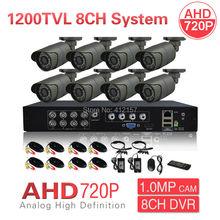 CCTV 8CH AHD 720P 1200TVL Outdoor Security Camera System 1080P HDMI CCTV Video Surveillance DVR HDMI AHD Camera Set P2P View