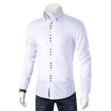 Новинка, модная повседневная мужская рубашка с длинным рукавом, приталенная Мужская Повседневная рубашка на пуговицах, деловая одежда, рубашки, Мужская одежда, Camisa
