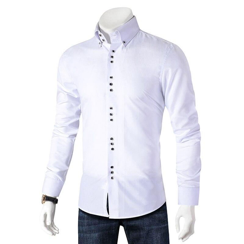 2019 Nova Moda Casual Homens Camisa de Manga Longa Slim Fit Camisa Button-Down Formais Camisas de Vestido Ocasional dos homens roupas masculinas Camisa