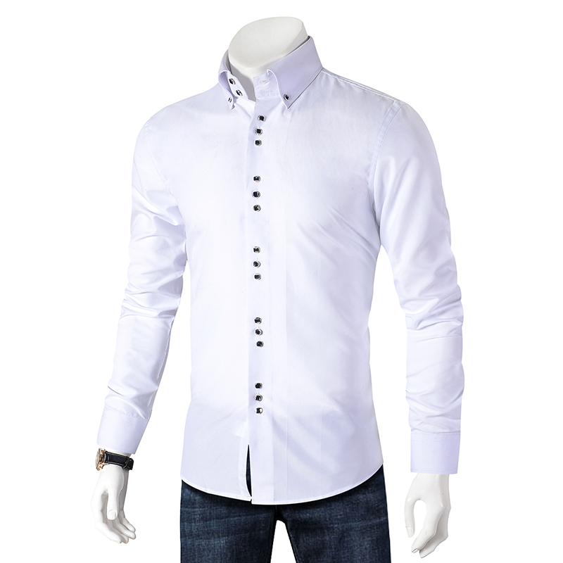 New Fashion Casual Shirt Men Long Sleeve Slim Fit Men's Casual Button-Down Shirt Formal Dress Shirts Men Clothes Camisa(China)