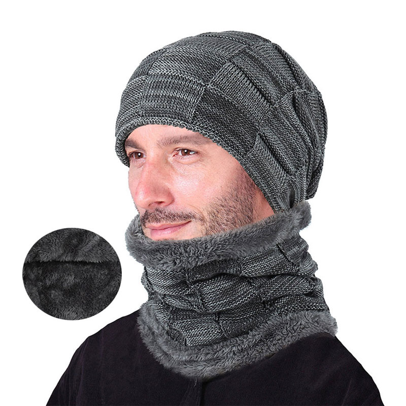 Winter Men Hat And Scarf Set For Women Male Ring Scarves Cap Knit Beanies Slouchy Hat Soft Stretch Cable Skullies Warm Suit