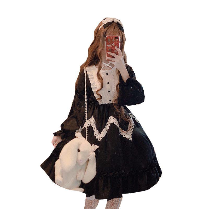 Invierno de manga larga Alicia en el país de las Maravillas Lolita gran vestido de encaje grande swing lavanda azul y negro-in Vestidos from Ropa de mujer    2