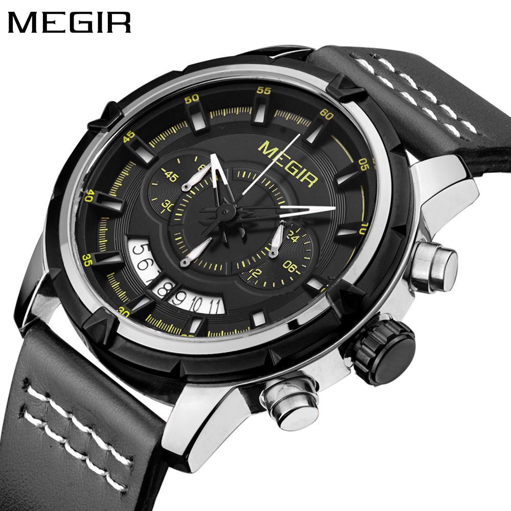 Megir Top Brand Luxury Men's Sport Wrist Watches Men Quartz Leather Watch Army Military Waterproof Clock Men erkek kol saati high quality men s genuine leather band watches business sport analog quartz wrist watch mens watches top brand luxury kol saati