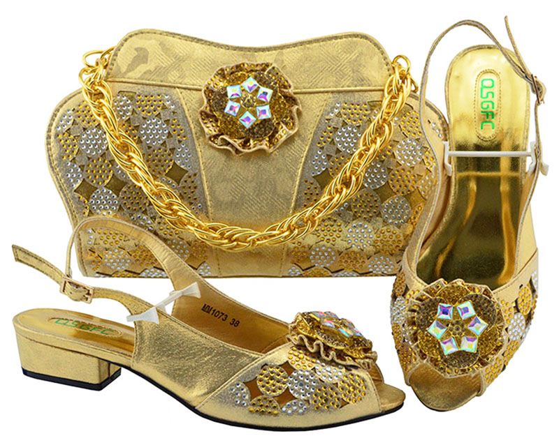 Italian Matching Shoes and Bag Set Gold color African Wedding Shoe and Bag set Italy Shoe and Handbag Summer Set Women Mid heel red african wedding shoe and bag sets women shoe and bag to match for parties elegant italian women shoe and bag set